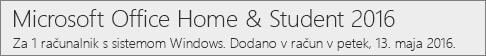Kako je različica sistema Office 2016 za PC prikazana na spletni strani Office.com/moj račun
