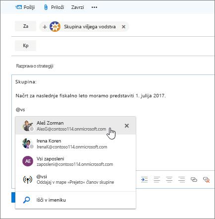 Posnetek novega pogovornega okna za e-pošto v Outlooku, ki prikazuje @omembo v besedilu sporočila.