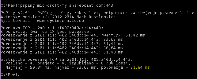 Ukaz »PSPing« se izvede v vratih 443 mesta microsoft-my.sharepoint.com.