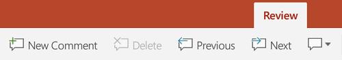 Zavihku »pregled «na traku v PowerPointu v tablicah s sistemom Android vključuje gumbe za uporabo pripomb.