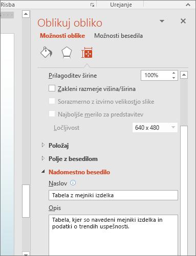 Posnetek zaslona podokna »Oblikovanje slike« s polji, v katerem je nadomestno besedilo z opisom izbrane tabele