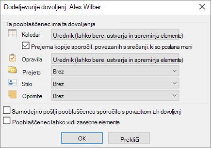 Dodeljevanje dovoljenj v Outlooku
