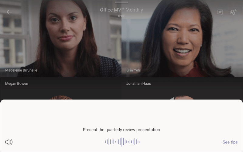 Microsoft Teams zaslon – predstavitev na kompletu zaslona