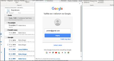 Mapa »Prejeto« v ozadju in pogovorno okno za vpis v Google v ospredju