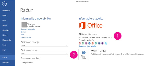 Datoteka > Račun v programu Word 2013