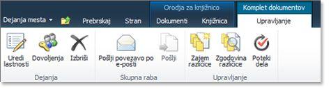 Trak »Upravljanje kompleta dokumentov«