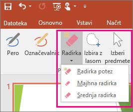 Prikazuje gumb »Radirka« v orodjih za rokopis v Officeu