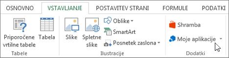 Posnetek zaslona odseka na zavihku »Vstavljanje« na Excelovem traku s kazalcem, ki kaže na moji programi. Izberite moji programi za Accessove programe za Excel.