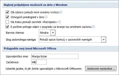 Priljubljene možnosti programa Word 2007
