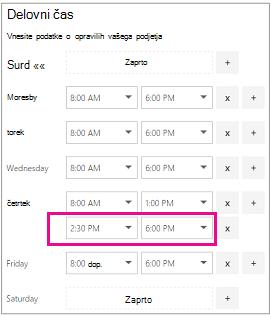 Delovni čas strani z novo dodano druge vrstice na časovnih rež