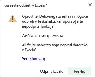 Pogovorno okno, ko odprete delovni zvezek, zaščiteno z geslom, v programu Excel online