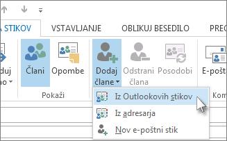 Dodajanje članov iz Outlookovih stikov