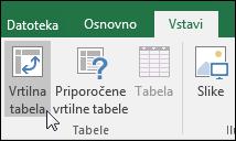 Pojdite v razdelek »Vstavi« > »Vrtilna tabela«, da vstavite prazno vrtilno tabelo