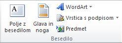 Skupina »Besedilo» na zavihku »Vstavi« na traku Excela 2010