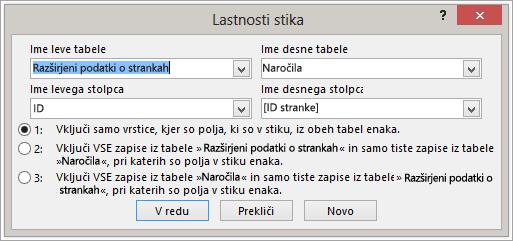 Posnetek zaslona lastnosti združevanja z označevanjem levega imena tabele