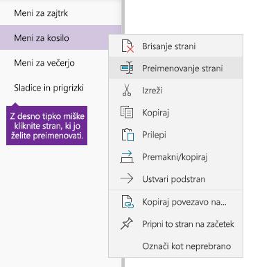 Posnetek zaslona, ki prikazuje preimenovanje strani v OneNotu
