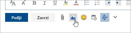 Posnetek zaslona gumba za vstavitev slik v vrstici