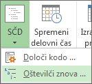 Slika zavihka »Projekt«, gumba »SČD«, ukaza »Oštevilči znova« v spustnem seznamu.