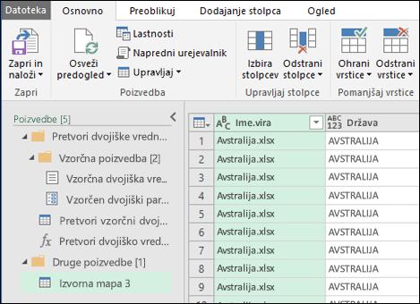 Pogovorno okno za predogled združevanja dvojiških vrednosti. Pritisnite »Zapri in naloži«, da sprejmete rezultate in jih uvozite v Excel.