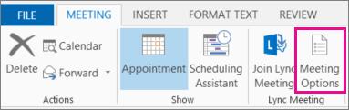 Gumb »Možnosti srečanja« v programu Outlook 2013