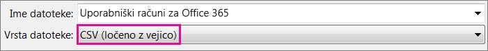Slika, ki prikazuje, kako shraniti datoteko v Excelu v obliki zapisa CSV