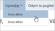 Zaslonski posnetek možnosti »Uvozi stike« v meniju za upravljanje