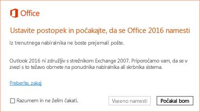 Napaka: ustavite postopek in počakajte, da se Office 2016 namesti