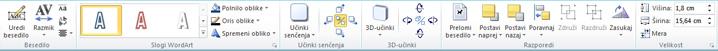 Zavihek »Orodja za WordArt« v programu Publisher 2010