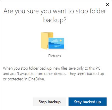 Posnetek zaslona, ko zaustavite zaščito map v storitvi OneDrive