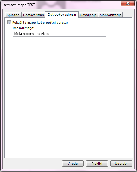 Prepričajte se, da je potrjeno potrditveno polje »Prikaži to mapo kot e-poštni adresar«.