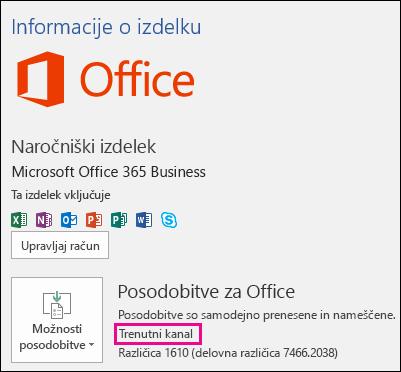 Informacije o računu izdelka za naročnino na trenutni kanal storitve Office 365 Business