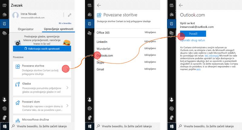 Posnetek zaslona s Cortana na Windows 10 in povezane storitve meni odprite.