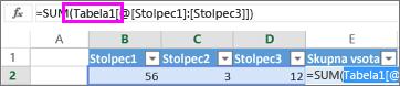 Ime tabele se prikaže v formulah