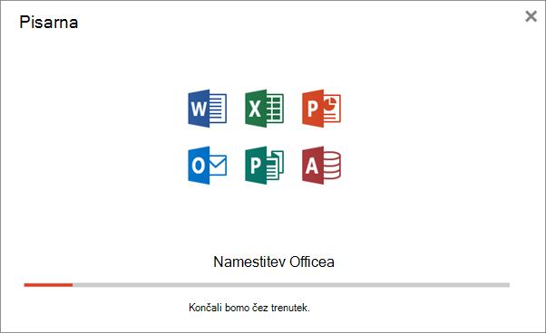 Prikaže pogovorno okno napredka med nameščanjem Officea