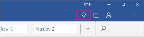 Prikaže, kje na traku v programu Word Mobile je ikona »Pokaži mi«