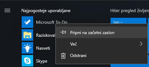 Posnetek zaslona, ki prikazuje izbrano možnost za Pripni na začetni zaslon za Microsoft To-Do v začetnem meniju