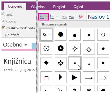 Posnetek zaslona postopka dodajanja oznak na stran v programu OneNote 2016.