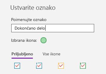 Ustvarjanje oznake po meri v OneNotu za Windows 10