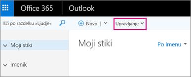 Slika strani Ljudje v programu Outlook v spletu