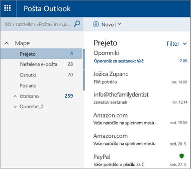 Primarni zaslon spletnega mesta Outlook.com ali Hotmail.com