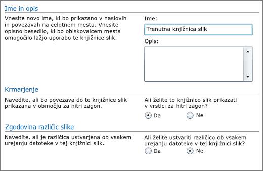 Pogovorno okno za dodajanje imena, diagrama, krmarjenja »Hitri zagon« in shranjevanja različic.