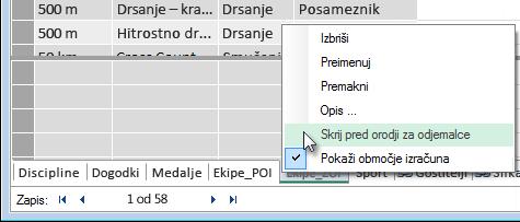 onemogočanje prikaza tabel v orodjih za odjemalce
