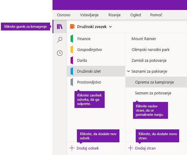 Odseki in strani v OneNotu za Windows 10