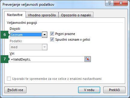 Izberite nastavitve za ta spustni seznam na zavihku »Nastavitve« v Excelu