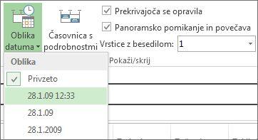 Oblike datuma na časovnici gumba in menija v Projectu