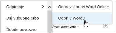 Odpiranje izbora aplikacij z izbranim Wordom.