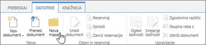 Slika traku SharePointove datoteke z označeno možnostjo »Nova mapa«.