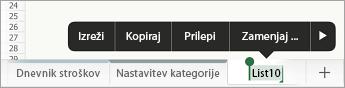 Izbran zavihek lista s prikazom možnosti preimenovanja