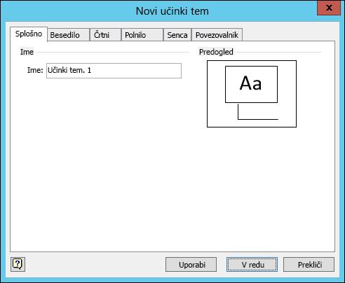 Posnetek zaslona, ki se prikaže pogovorno okno ustvarjanje novega učinki teme