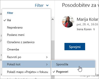 Posnetek zaslona menija »Filter« z izbrano možnostjo »Pokaži kot«